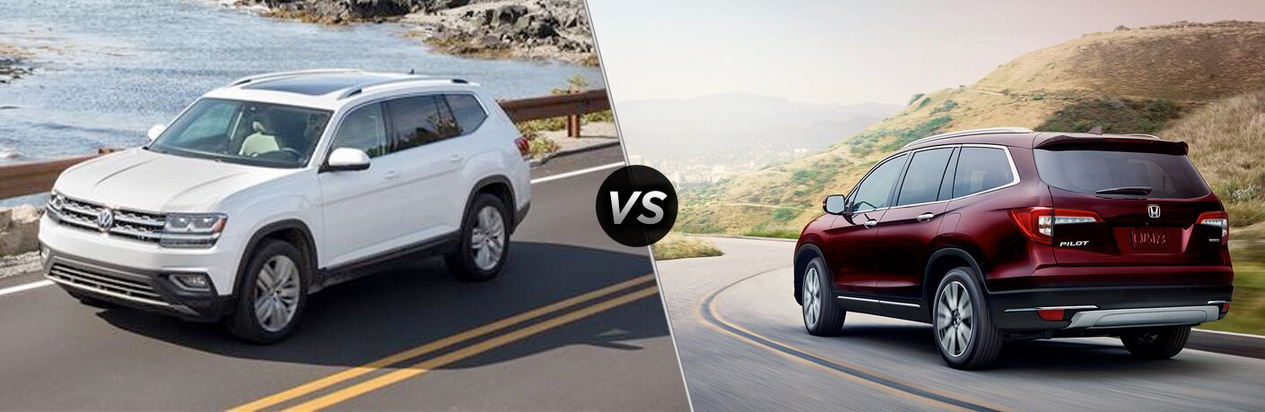 "White 2019 Volkswagen Atlas and red 2019 Honda Pilot drive down different highways. A diagonal line separates the two vehicles, with a ""VS"" logo in the center."