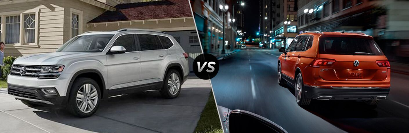 "Silver 2019 Volkswagen Atlas on left. ""VS"" icon in the middle. Orange 2019 Volkswagen Tiguan on right."
