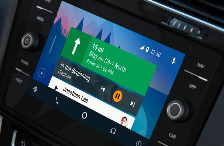 Crisp navigation displayed on the infotainment screen of a 2019 Volkswagen Golf GTI.