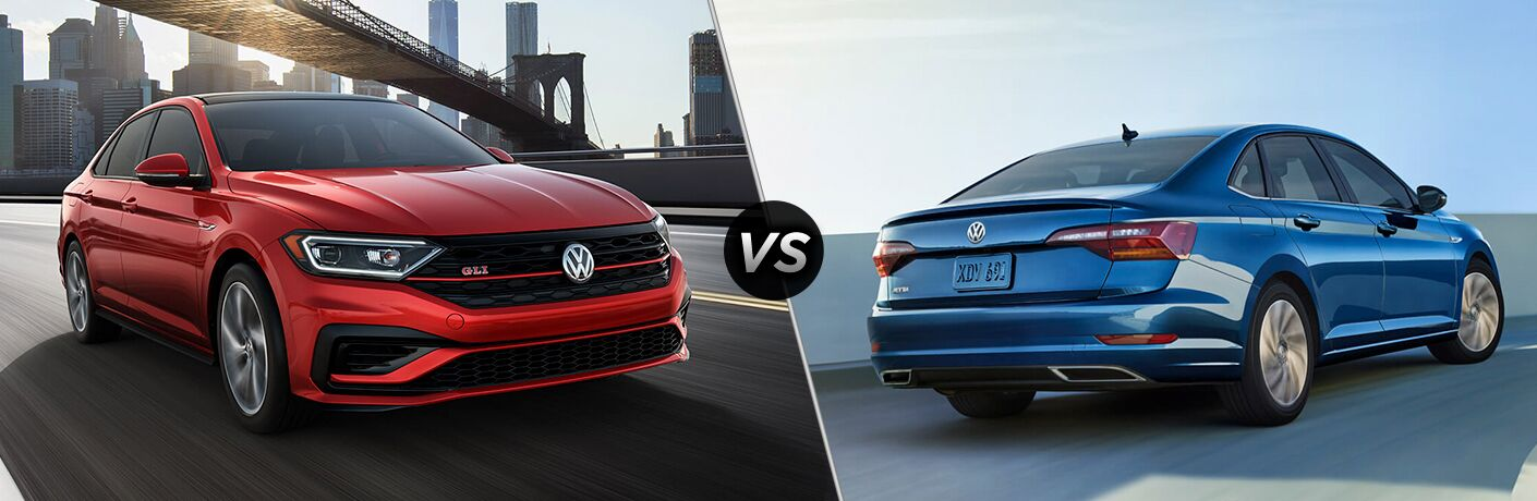 "Red 2019 Volkswagen Jetta GLI cruises down a city highway with a skyline behind. A blue 2019 Volkswagen Jetta drives along a highway; we see it from an exterior rear angled view. Both vehicles are separated by a diagonal line and ""VS"" logo."