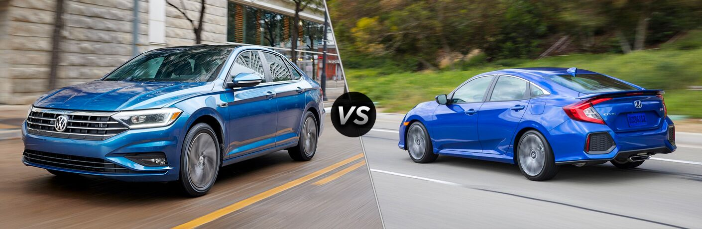 a blue 2019 Volkswagen Jetta and a 2018 Honda Civic in a comparison image