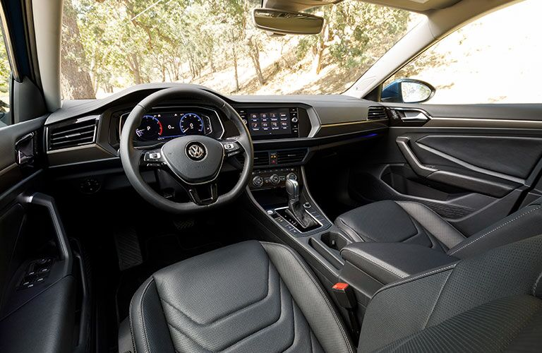 Interior front view of a 2019 Volkswagen Jetta, showcasing the spiffy cockpit.