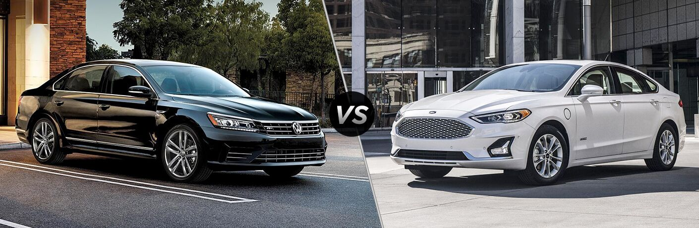 "2019 Volkswagen Passat and 2019 Ford Fusion, separated by diagonal line and ""VS"" icon."