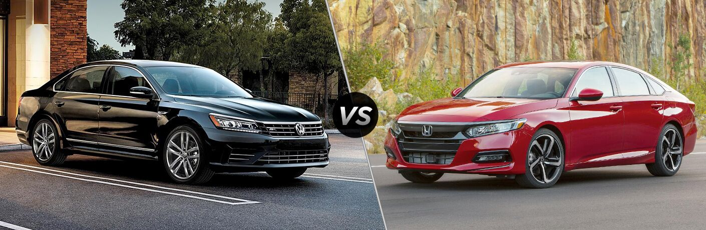 "Black 2019 Volkswagen Passat and red 2019 Honda Accord, separated by a diagonal line and a ""VS"" logo."