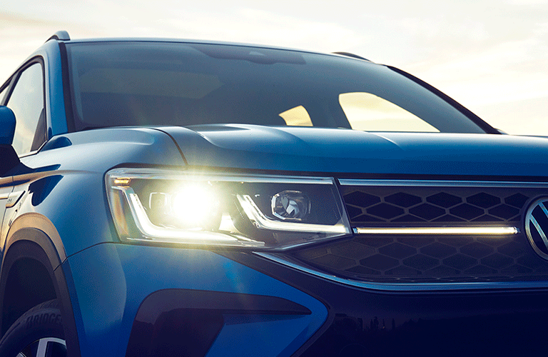 2022 VW Taos front grille and headlight closeup