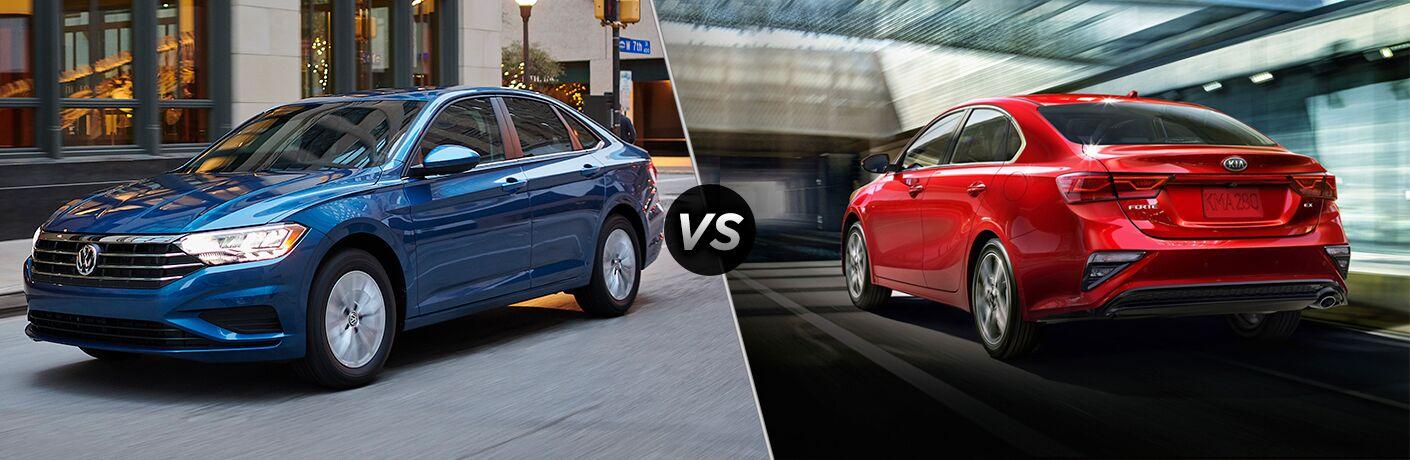 A side-by-side comparison of the 2019 Volkswagen Jetta vs. 2019 Kia Forte.