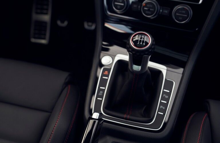 A photo of the gear-shifter for the manual transmission available in the 2021 VW Golf GTI.