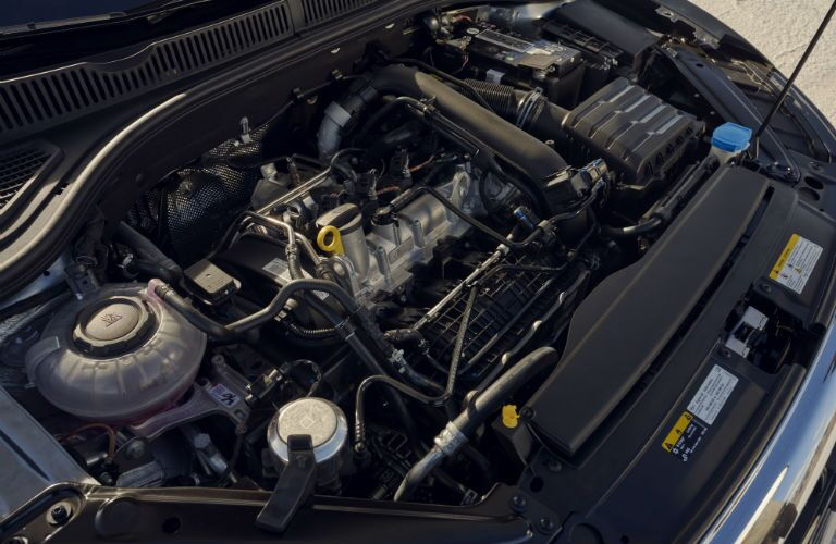 A photo of the engine used by the 2021 Volkswagen Jetta.