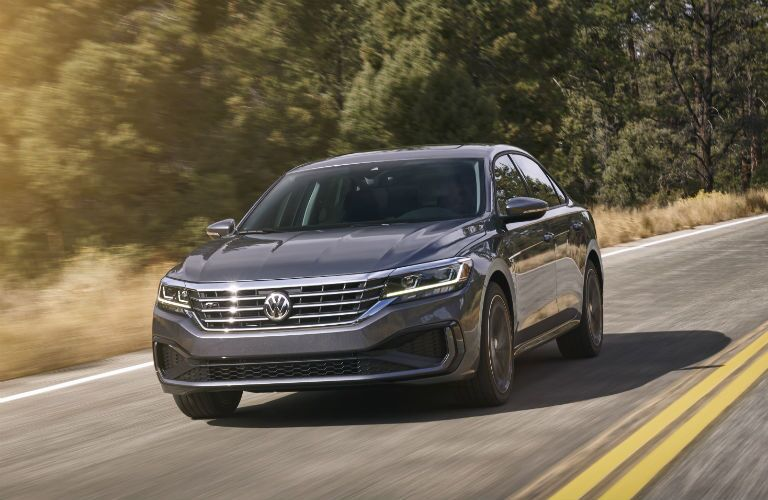 A head-on photo of the 2020 VW Passat on the road.