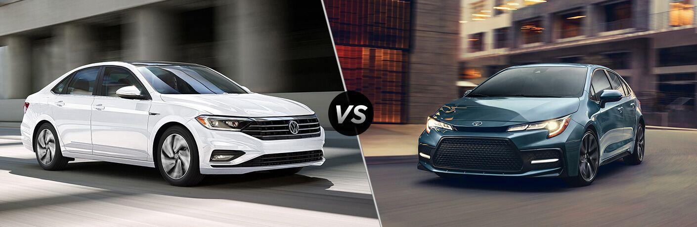 A side-by-side comparison of the 2020 Volkswagen Jetta vs. 2020 Toyota Corolla.