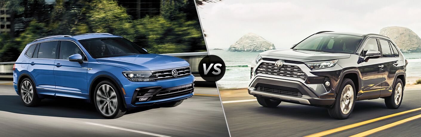 A side-by-side comparison of the 2020 Volkswagen Tiguan vs. 2020 Toyota RAV4.