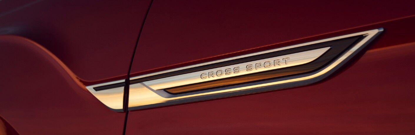 A photo of the Atlas Cross Sport badge worn by the 2021 Volkswagen Atlas Cross Sport.