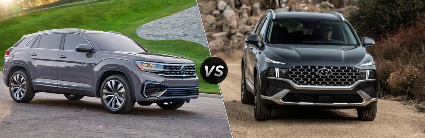 A side-by-side comparison of the 2021 Volkswagen Atlas Cross Sport vs. 2021 Hyundai Santa Fe.