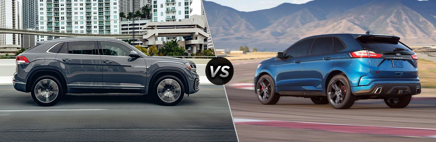 A side-by-side comparison of the 2021 Volkswagen Atlas Cross Sport vs. 2021 Ford Edge.