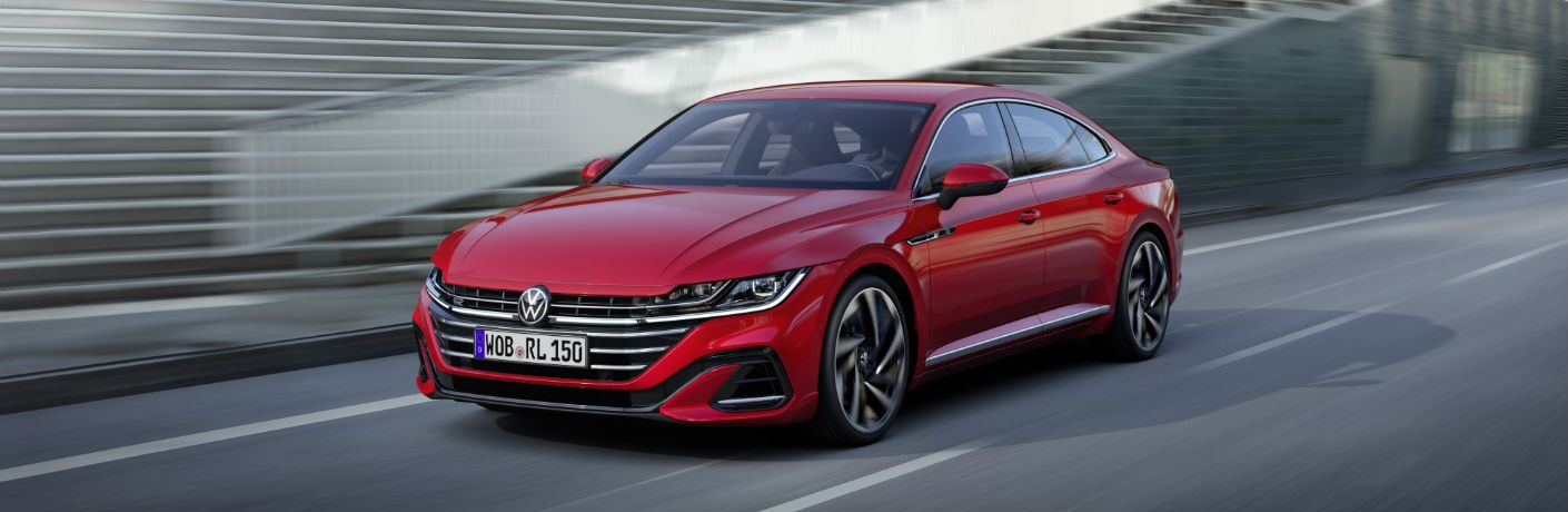 A front left quarter photo of the 2021 Volkswagen Arteon on the road.