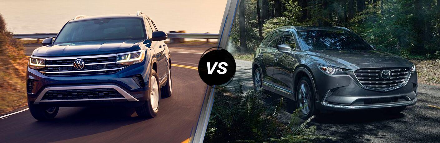 A side-by-side comparison of the 2021 Volkswagen Atlas vs. 2021 Mazda CX-9.