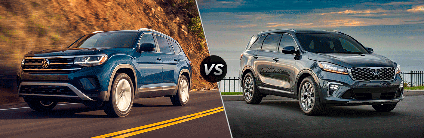 A side-by-side comparison between the 2021 Volkswagen Atlas vs. 2020 Kia Sorento.