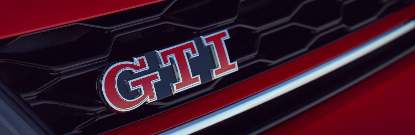 A photo of the GTI badge used on the front of the 2021 Volkswagen Golf GTI.