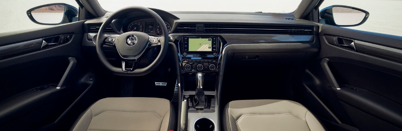 The dashboard and driver's cockpit in the 2021 Volkswagen Passat.