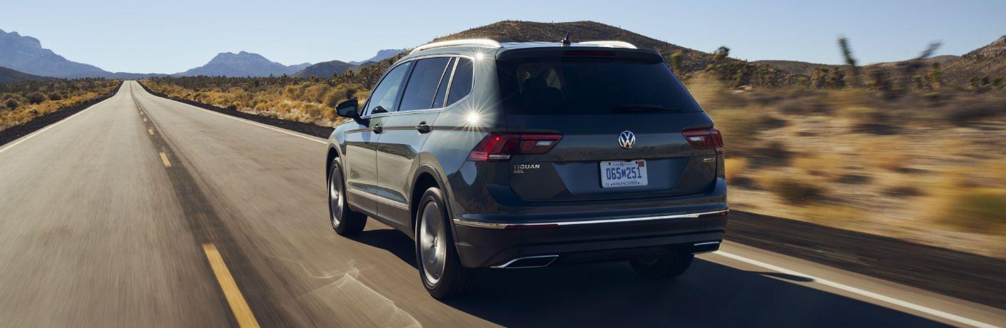 A rear left quarter photo of the 2021 Volkswagen Tiguan.