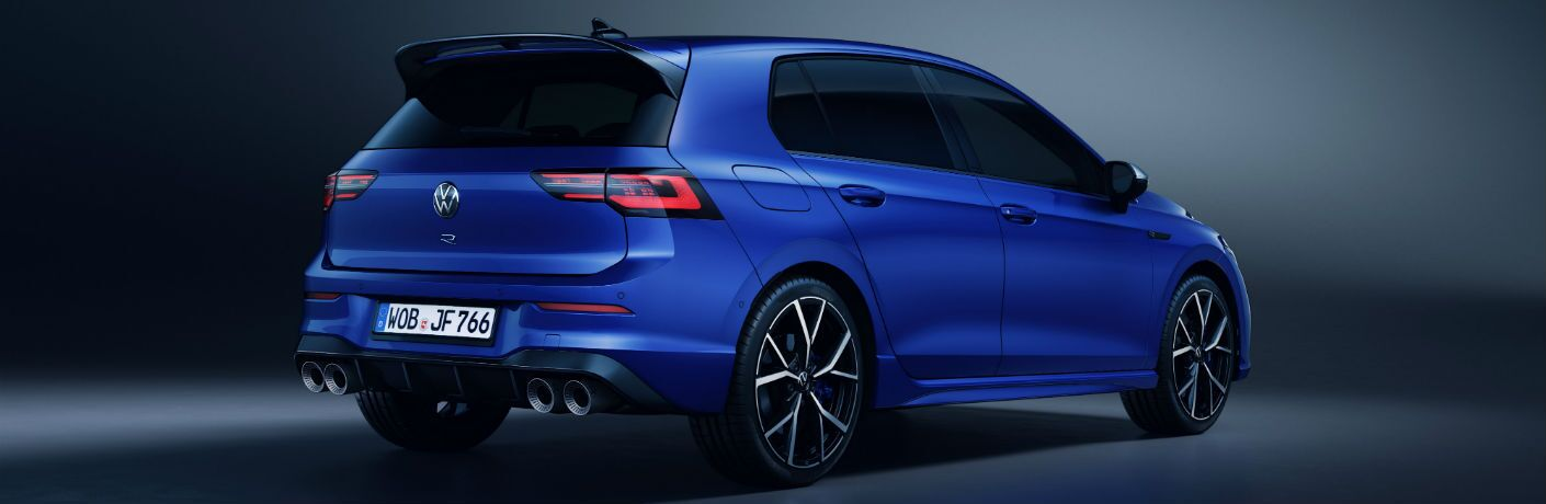 A rear right quarter photo of the 2022 Volkswagen Golf R.