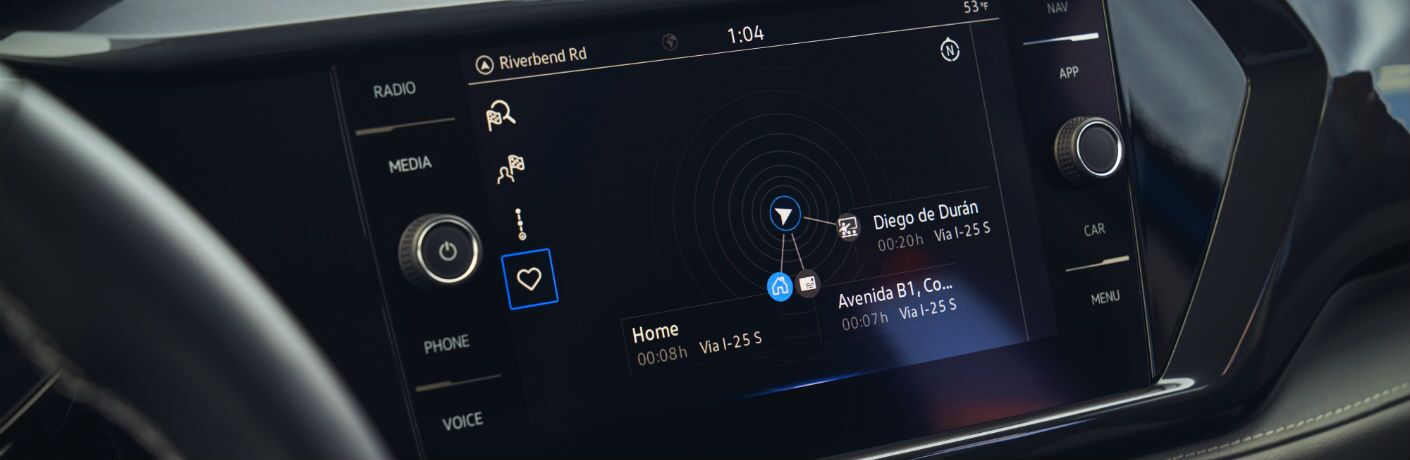 A photo of the touchscreen equipped in the 2022 Volkswagen Taos.