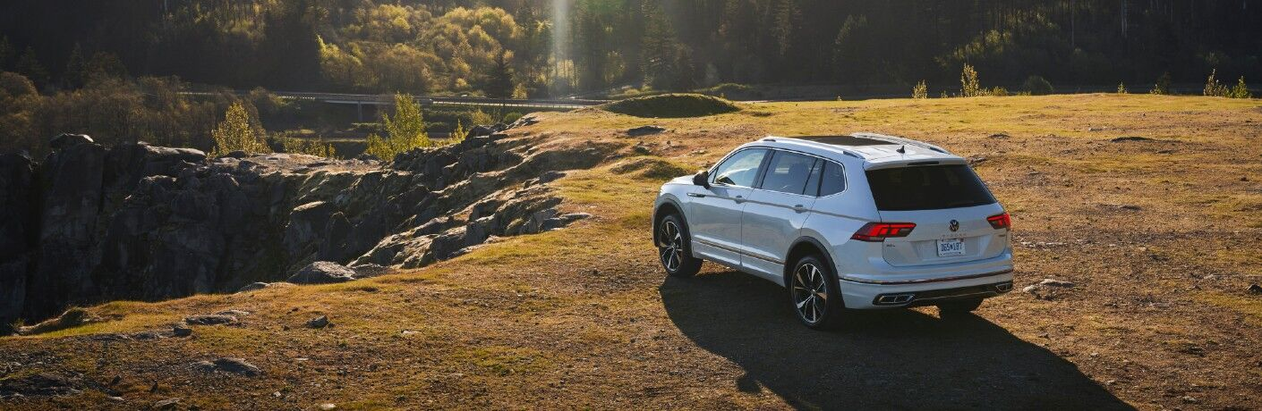 An overhead photo of the 2022 Volkswagen Tiguan parked on a field.