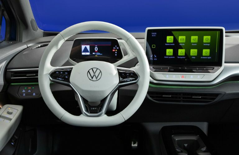A photo of the driver's cockpit in the 2021 Volkswagen ID.4.