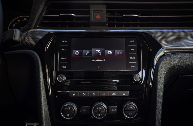 A photo of the touchscreen interface used in the 2020 VW Passat.