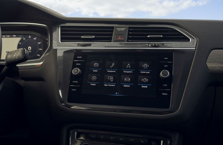 A photo of the touchscreen equipped in the 2021 Volkswagen Tiguan.