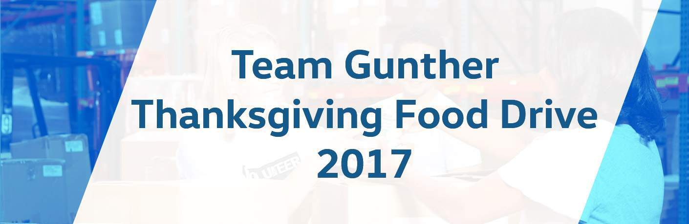 Team Gunther Volkswagen Thanksgiving Food Drive 2017 in blue and white, faint image of a food drive in the background