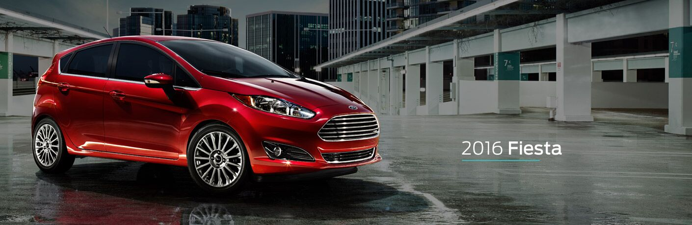 red 2016 Ford Fiesta hatch exterior side