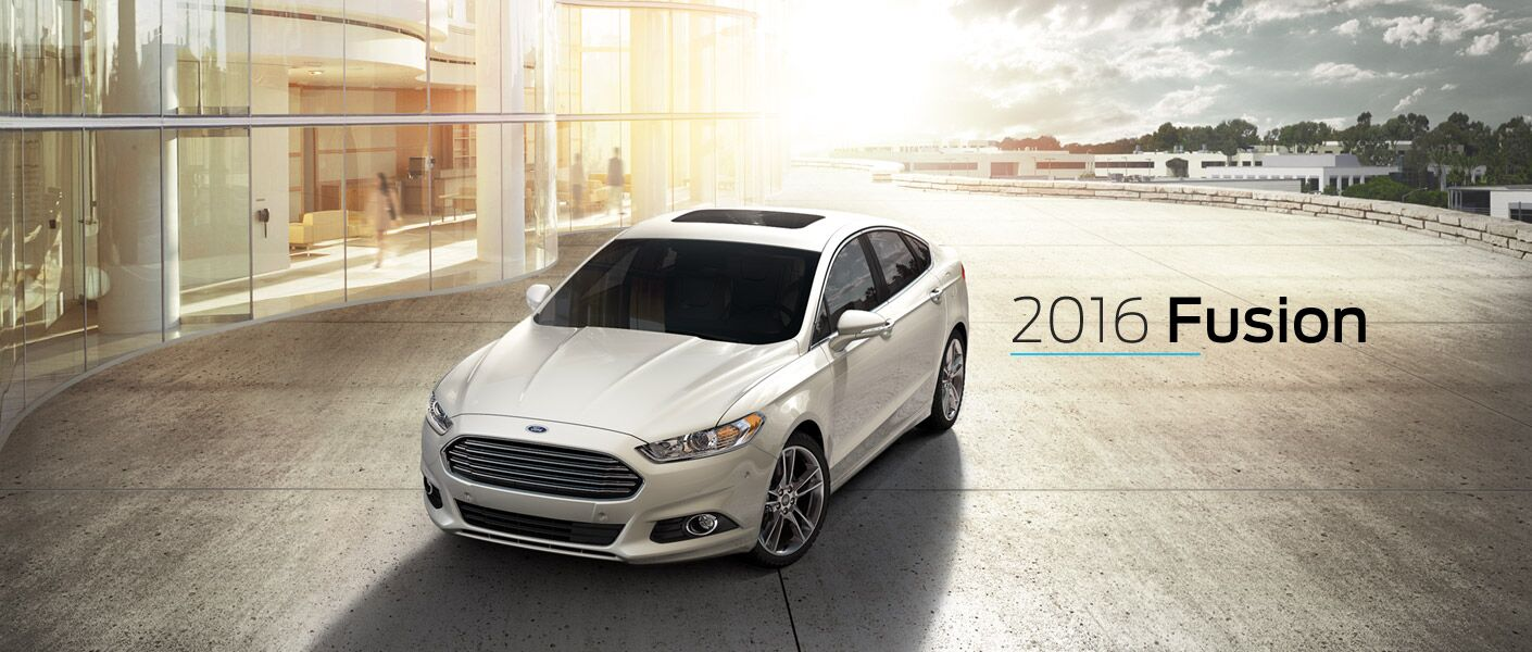 white 2016 Ford Fusion exterior parked at sunset
