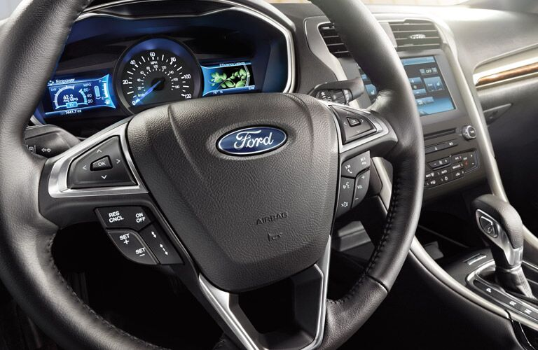 2016 Ford Fusion interior steering wheel and dashboard