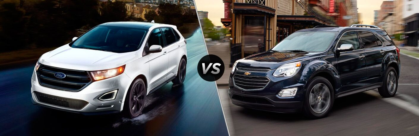 white 2017 Ford Edge blue 2017 Chevy Equinox exteriors