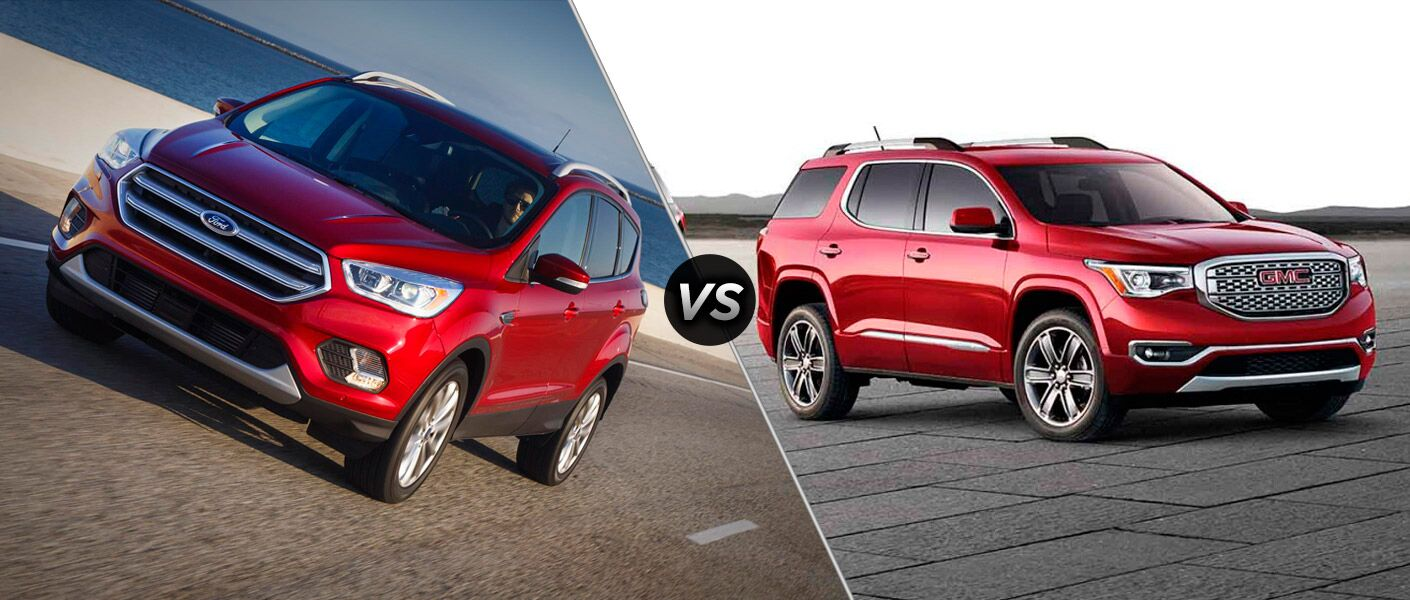 red 2017 Ford Escape red 2017 GMC Acadia exteriors