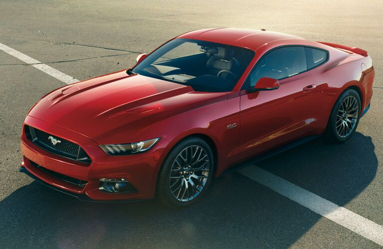 red 2017 Ford Mustang exterior front and top view
