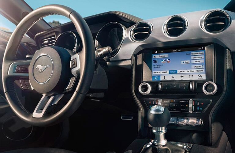 2017 Ford Mustang interior steering wheel and dashboard