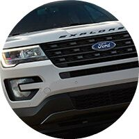 white 2017 Ford Explorer front grille closeup