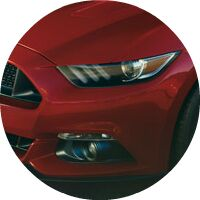 red 2017 Ford Mustang headlight closeup