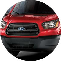 red 2017 Ford Transit front grille