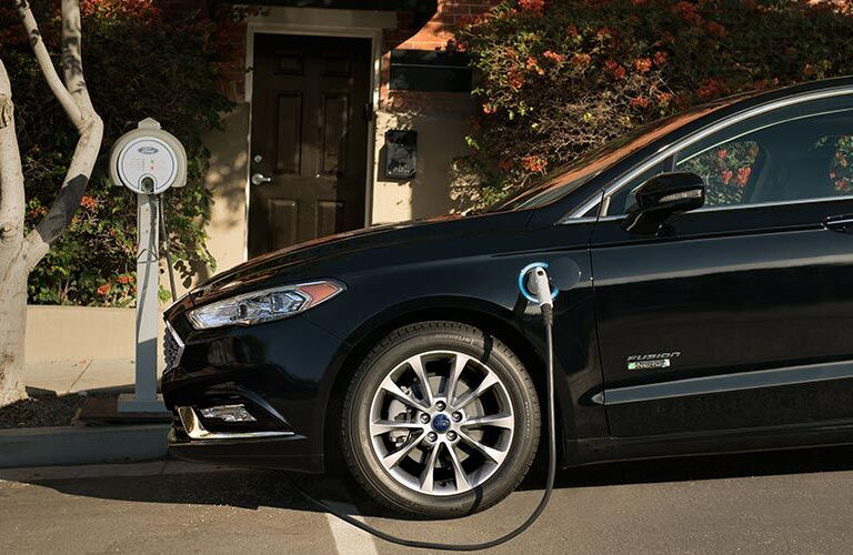 black 2017 Ford Fusion Energi charging