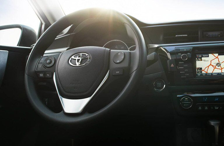 Close up of the 2017 Toyota Corolla's steering wheel