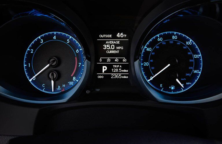 Close up of the 2017 Toyota Corolla's instrument panel