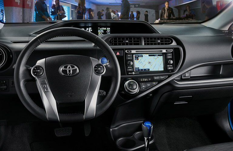 2017 Toyota Prius c steering wheel and center console