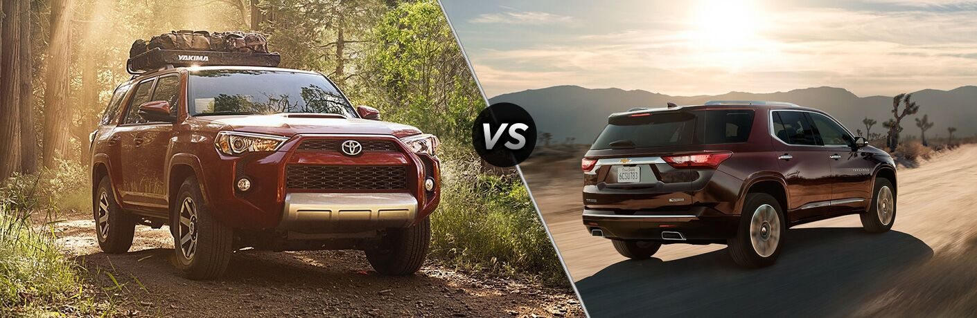 Split screen images of the 2018 Toyota 4Runner and the 2018 Chevy Traverse