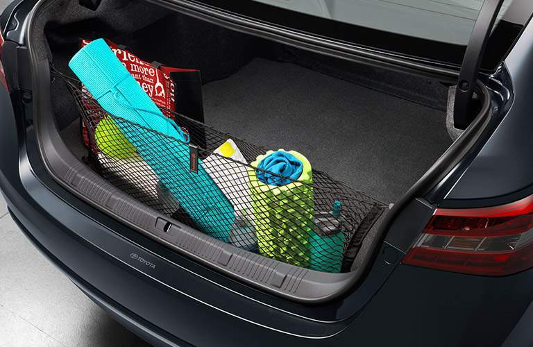 2018 Toyota Avalon trunk filled with exercise equipment