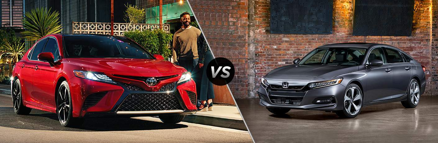 Split screen images of the 2018 Toyota Camry and the 2018 Honda Accord