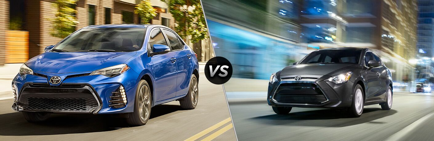 Split screen images of the 2018 Toyota Corolla and the 2018 Toyota Yaris iA