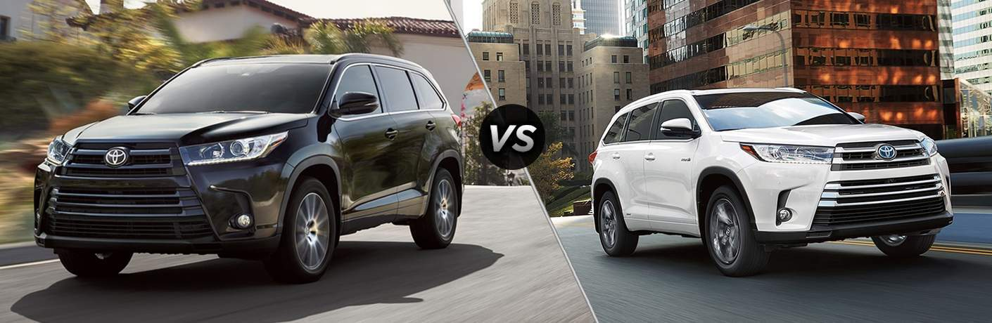 Split screen images of the 2018 Toyota Highlander vs 2017 Toyota Highlander